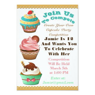 Cupcake Wars Bake Off Birthday Multi Color Invite