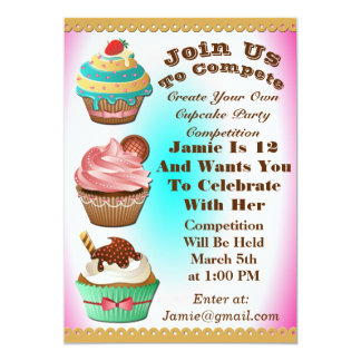 Cupcake Wars Bake Off Birthday Pink Blue Invite