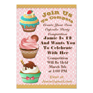Cupcake Wars Bake Off Birthday Pink Diamond Invite