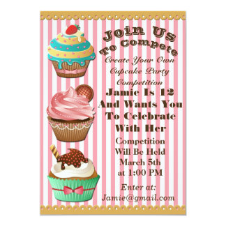 Cupcake Wars Bake Off Birthday Pink Striped Invite