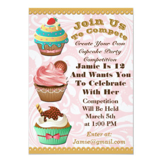Cupcake Wars Bake Off Birthday Pink Swirl Invite
