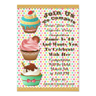 Cupcake Wars Bake Off Birthday Polka Dot Invite