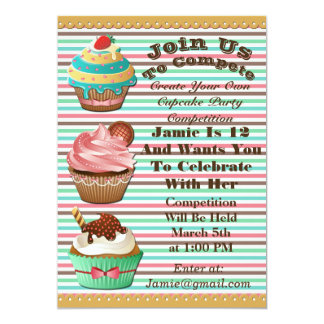 Cupcake Wars Bake Off Birthday Striped Invite