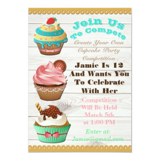 Cupcake Wars Bake Off Birthday White Wooden Invite