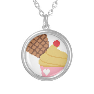cupcake with a cherry on top silver plated necklace