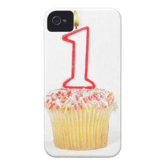 Cupcake with a numbered birthday candle 10 Case-Mate iPhone 4 cases