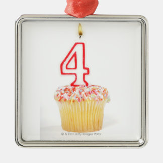 Cupcake with a numbered birthday candle 2 christmas ornament