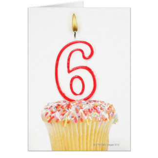 Cupcake with a numbered birthday candle 4 card
