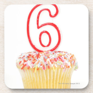 Cupcake with a numbered birthday candle 4 coaster