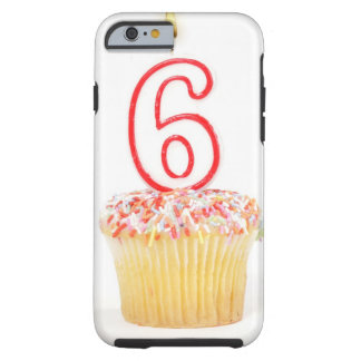 Cupcake with a numbered birthday candle 4 tough iPhone 6 case