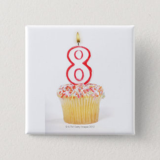 Cupcake with a numbered birthday candle 5 15 cm square badge