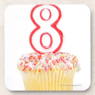 Cupcake with a numbered birthday candle 5 coaster