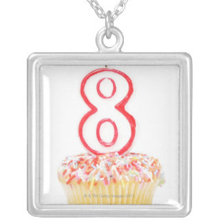 Cupcake with a numbered birthday candle 5 silver plated necklace