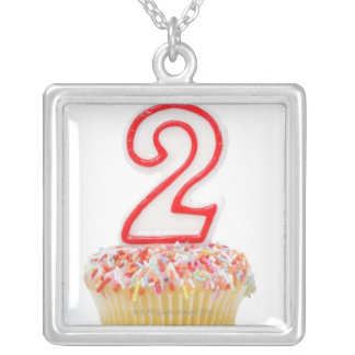 Cupcake with a numbered birthday candle 6 silver plated necklace