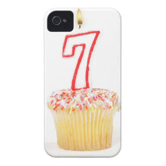 Cupcake with a numbered birthday candle 7 Case-Mate iPhone 4 cases
