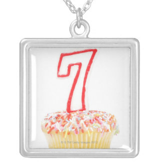 Cupcake with a numbered birthday candle 7 silver plated necklace