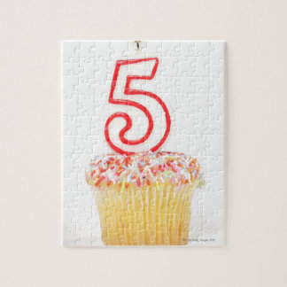 Cupcake with a numbered birthday candle 8 jigsaw puzzle