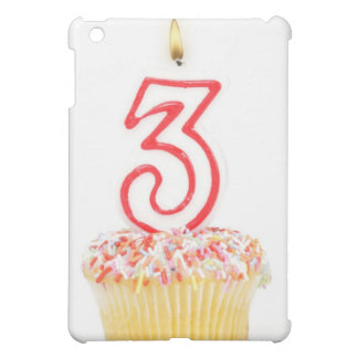 Cupcake with a numbered birthday candle 9 iPad mini case