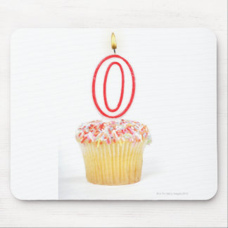 Cupcake with a numbered birthday candle mouse pad