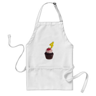 Cupcake with birthday candle for four year old adult apron