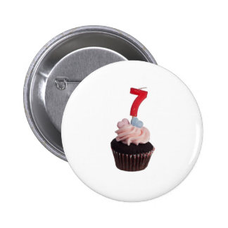 Cupcake with birthday candle for seven year old 6 cm round badge