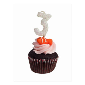 Cupcake with birthday candle for three year old postcard