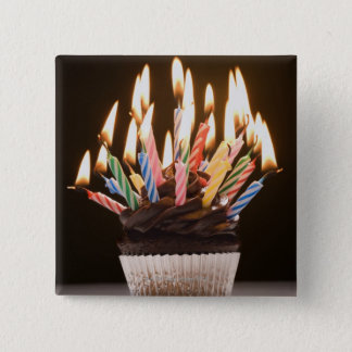 Cupcake with birthday candles 15 cm square badge