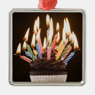 Cupcake with birthday candles christmas ornament