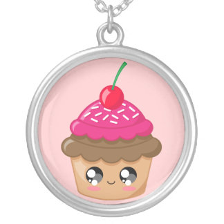 Cupcake with Cherry and Sprinkles Necklace