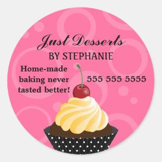 Cupcake with Cherry Bakery Round Sticker