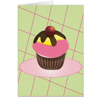 Cupcake with Cherry Birthday Card