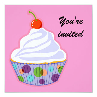 Cupcake with cherry personalized announcement