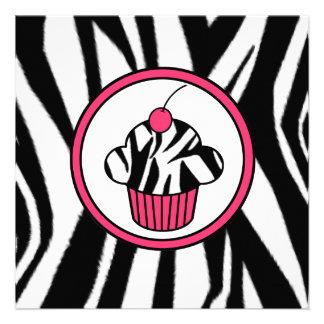 Cupcake with Cherry Invitation - Zebra Print Pink