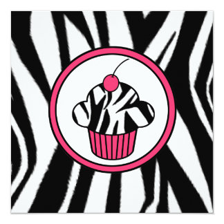 Cupcake with Cherry Invitation - Zebra Print /Pink