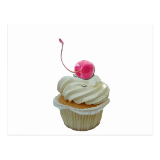 Cupcake with cherry postcard