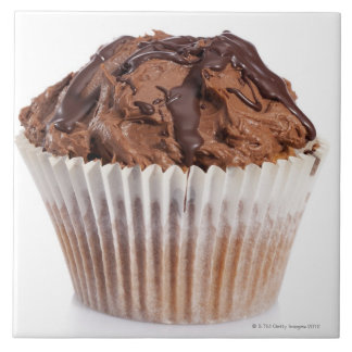 Cupcake with chocolate icing large square tile