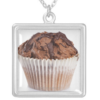 Cupcake with chocolate icing silver plated necklace