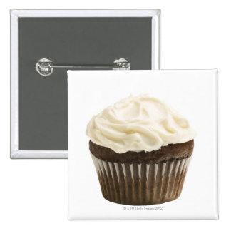 Cupcake with chocolate icing, studio shot 2 15 cm square badge