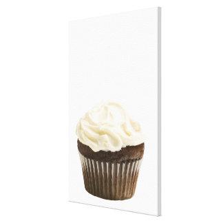 Cupcake with chocolate icing, studio shot 2 canvas print
