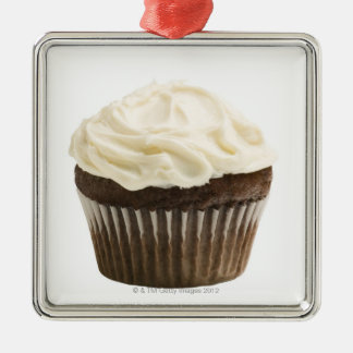 Cupcake with chocolate icing, studio shot 2 Silver-Colored square decoration