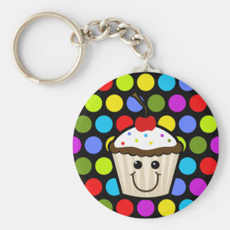 Cupcake with Colorful Sprinkles Key Ring