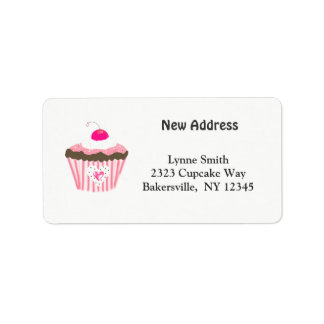 Cupcake With Heart New Address Label