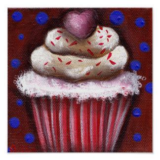 Cupcake with Heart Poster