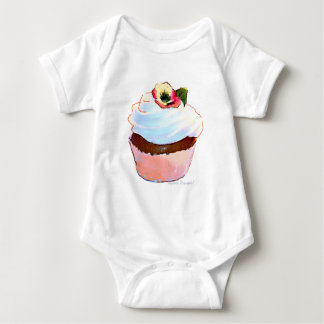 Cupcake with Pansy Art Design Baby Bodysuit