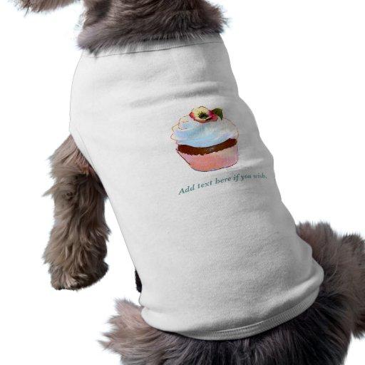 Cupcake with Pansy Art Design Doggie Tee
