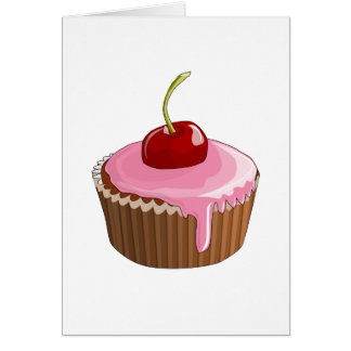 Cupcake with Pink Frosting and Cherry On Top Greeting Card