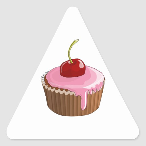 Cupcake with Pink Frosting and Cherry On Top Triangle Stickers