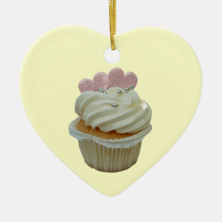 Cupcake with pink hearts Ornament