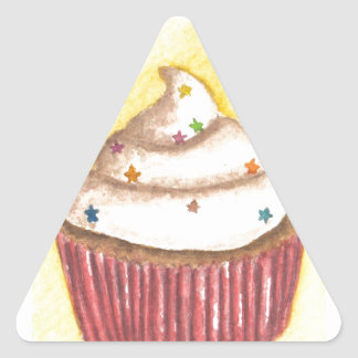 Cupcake with Star Sprinkles Triangle Sticker