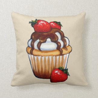 Cupcake with Strawberries, Chocolate, Original Art Cushion